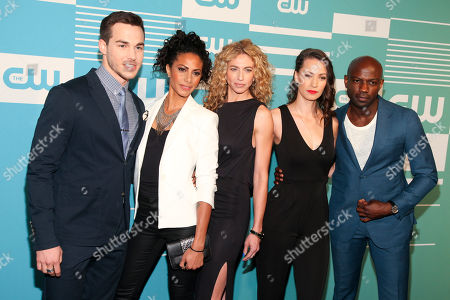 Stock Picture of Chris Wood, from left, Christina Moses, Claudia Black, Kristen Gutoskie and David Gyasi attend The CW Network 2015 Programming Upfront Presentation at The London Hotel, in New York