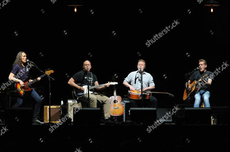 The Eagles, from left, Timothy B. Schmit, Bernie Leadon, Don Henley and Glenn Frey, perform at Madison Square Garden on in New York