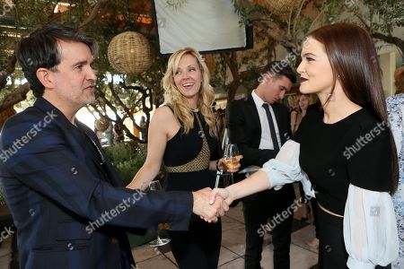 Stock Picture of From left, Joseph Cassell, Tara Swennen and Zoey Deutch attend The Hollywood Reporter & Jimmy Choo Celebration of the Most Powerful Stylists in Hollywood,, in West Hollywood, Calif