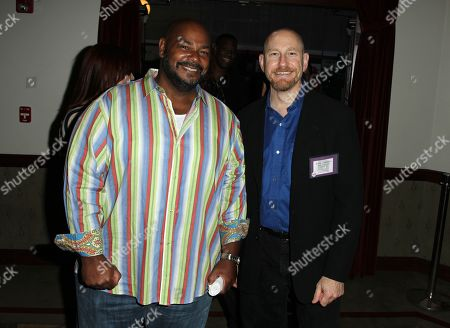 Actor Kevin Michael Richardson, left, and Andrew Robinson, story editor for Kaijudo, attend the Hub Network's TCA at Universal Studios, in Los Angeles