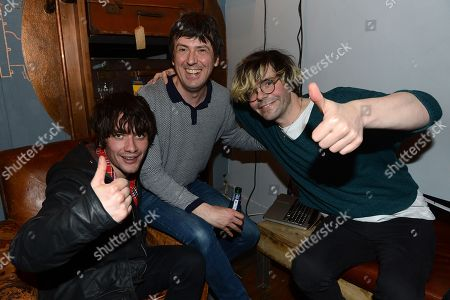 From left, Kieren Webster, Mark Collins and Tim Burgess seen at a HuffPost UK event at Espresso Bar Mozzino,, in London. Part of celebrations for a new initiative from the Huffington Post UK whereby they will be providing free Wi-Fi to independent coffee shops