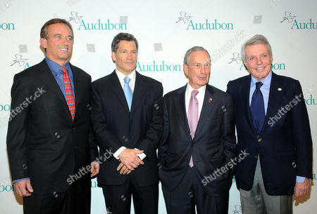 Stock Picture of Robert F. Kennedy Jr., left, honoree Louis Bacon, second left, New York City Mayor Michael Bloomberg, second right, and Dan W. Lufkin attend The National Audubon Society's first gala to jointly award the Audubon Medal and the inaugural Dan W. Lufkin Prize for Environmental Leadership, in New York