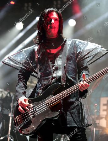 Stock Image of Twiggy Ramirez performs with Marilyn Manson in concert during the End Times Tour 2015 at the Susquehanna Bank Center, in Camden, N.J