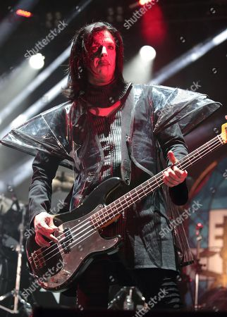 Stock Picture of Twiggy Ramirez performs with Marilyn Manson in concert during the End Times Tour 2015 at the Susquehanna Bank Center, in Camden, N.J
