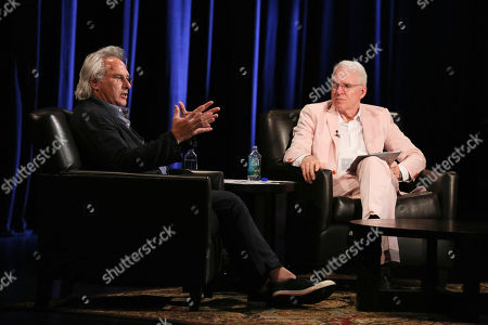 From left, artist Eric Fischl and Steve Martin speak during The Un-Private Collection: Eric Fischl and Steve Martin, an art talk presented by The Broad museum and held at The Broad Stage, in Santa Monica, Calif