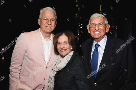 From left, Steve Martin, Edythe Broad and Eli Broad pose during The Un-Private Collection: Eric Fischl and Steve Martin, an art talk presented by The Broad museum and held at The Broad Stage, in Santa Monica, Calif