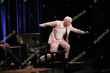 Steve Martin poses during The Un-Private Collection: Eric Fischl and Steve Martin, an art talk presented by The Broad museum and held at The Broad Stage, in Santa Monica, Calif