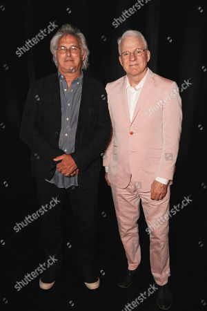 From left, artist Eric Fischl and Steve Martin pose during The Un-Private Collection: Eric Fischl and Steve Martin, an art talk presented by The Broad museum and held at The Broad Stage, in Santa Monica, Calif