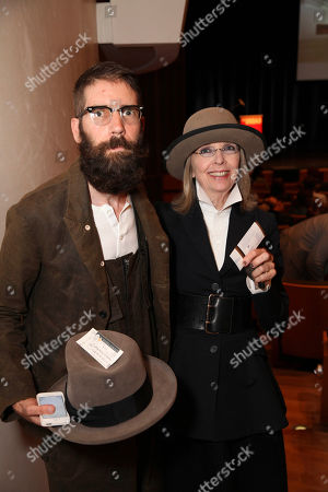 From left, artist Brett Hofer and actress Diane Keaton pose during The Un-Private Collection: Eric Fischl and Steve Martin, an art talk presented by The Broad museum and held at The Broad Stage, in Santa Monica, Calif
