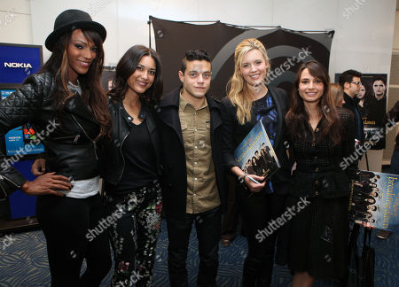 Judith Shekoni, Julia Jones, Rami Malek, Maggie Grace and Mia Maestro, left to right, at the Time Warner Cable and Twilight Fan Breakfast on in Los Angeles