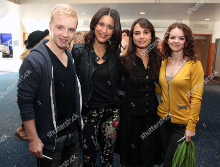 Stock Image of Noel Fisher, Julia Jones, Mia Maestro and Marlane Barnes, left to right, pose for a photo at the Time Warner Cable and Twilight Fan Breakfast on in Los Angeles