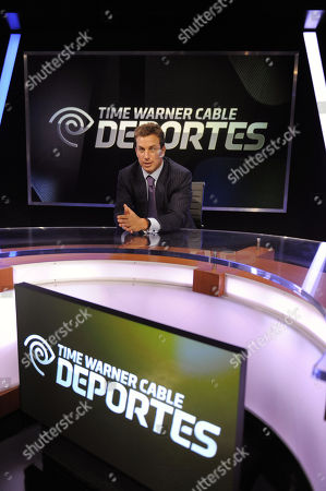 Jeff Hirsch, Executive Vice President and Chief Marketing Officer, Residential Services for Time Warner Cable, is seen on the set of Time Warner Cable Deportes at the Time Warner Cable Sports launch event, in Los Angeles