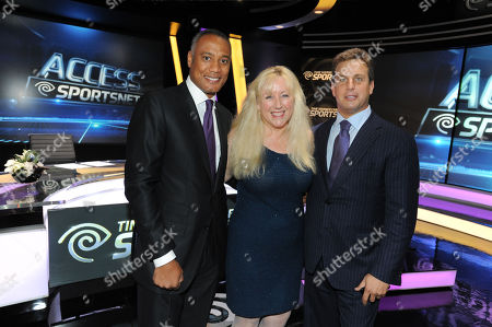 David Rone, President, TWC Sports, left, Melinda Witmer, Executive Vice President and Chief Video and Content Officer, center, and Jeff Hirsch, Executive Vice President and Chief Marketing Officer, Residential Services for Time Warner Cable, at the Time Warner Cable Sports launch event hosted by Time Warner Cable Sports, in Los Angeles