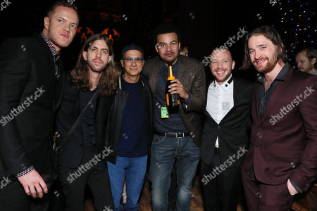 Members of The Magic Dragons with Jimmy Iovine and Alex da Kid seen at Universal Music Group's 2014 Post Grammy Party, on in Los Angeles