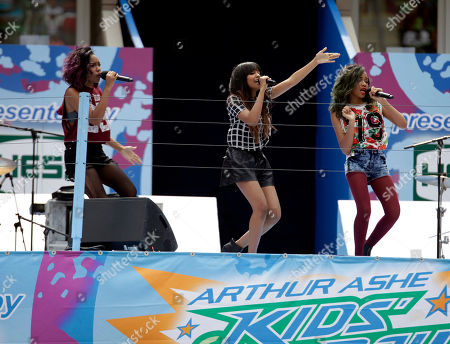 From left, recording artists Sierra McClain, China McClain and Lauryn McClain perform at US Open Arthur Ashe Kids Day at the USTA Billie Jean King National Tennis Center on in New York