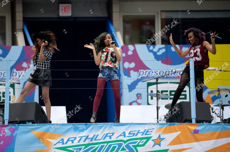 From left, recording artists China McClain, Lauryn McClain and Sierra McClain perform at US Open Arthur Ashe Kids Day at the USTA Billie Jean King National Tennis Center on in New York