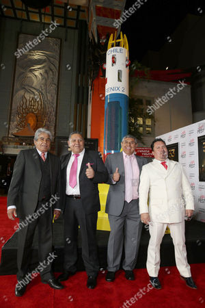 Stock Image of Mario Gomez, Luis Urzua, Juan Carlos Aguilar and Edison Pena seen at Warner Bros. 'The 33' Gala Screening at AFI Fest 2015 at TCL Chinese Theater, in Hollywood, CA