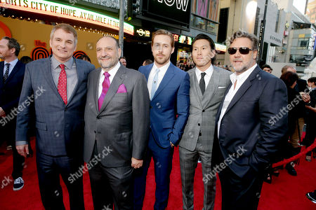 """Writer/Director Shane Black, Producer Joel Silver, Ryan Gosling, Executive Producer Ken Kao and Russell Crowe seen at Warner Bros. Premiere of """"The Nice Guys"""" at TCL Chinese Theatre, in Los Angeles"""