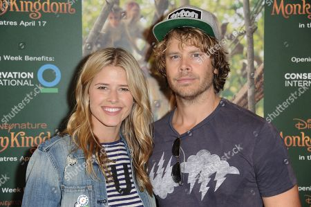 "Actors Sarah Wright, left, and and Eric Christian Olsen arrive at the World Premiere Of ""Monkey Kingdom"" held at Pacific Theatres at The Grove, in Los Angeles"