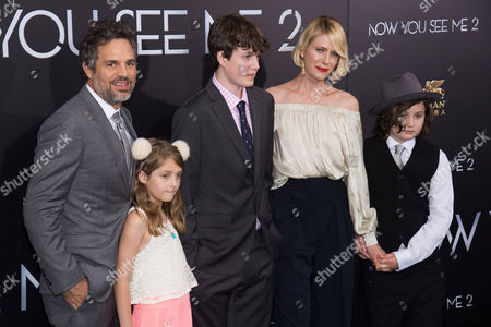 "Stock Photo of Mark Ruffalo, left, Odette Ruffalo, Keen Ruffalo, Sunrise Coigney and Bella Noche Ruffalo attend the world premiere of ""Now You See Me 2"" at AMC Loews Lincoln Square, in New York"