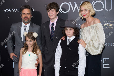 "Mark Ruffalo, left, Odette Ruffalo, Keen Ruffalo, Bella Noche Ruffalo and Sunrise Coigney attend the world premiere of ""Now You See Me 2"" at AMC Loews Lincoln Square, in New York"