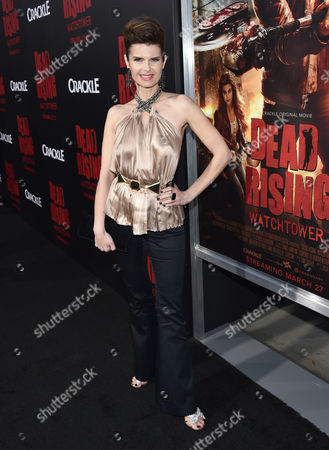 """Carrie Genzel attends the world premiere of Crackle's """"Dead Rising Watchtower"""" at Sony Pictures Studios, in Culver City, Calif"""