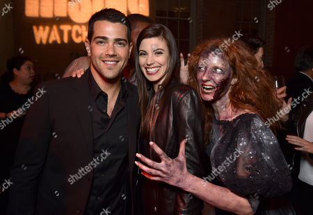 """Jesse Metcalfe, from left, and Meghan Ory attend the world premiere of Crackle's """"Dead Rising Watchtower"""" at Sony Pictures Studios, in Culver City, Calif"""