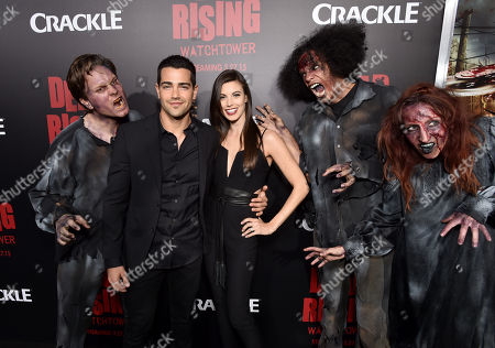 """Jesse Metcalfe, from second left, and Meghan Ory attend the world premiere of Crackle's """"Dead Rising Watchtower"""" at Sony Pictures Studios, in Culver City, Calif"""