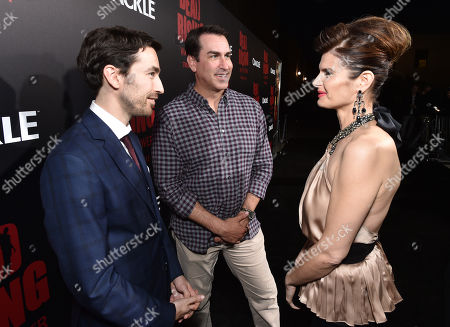 """Stock Image of Zach Lipovsky, from left, Rob Riggle and Carrie Genzel attend the world premiere of Crackle's """"Dead Rising Watchtower"""" at Sony Pictures Studios, in Culver City, Calif"""