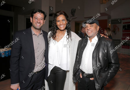 Lifetime EVP and GM Rob Sharenow, Eskedar Gobeze and Berry Gordy attend the Premiere of Lifetime's Whitney at the Paley Center on in Beverly Hills, Calif