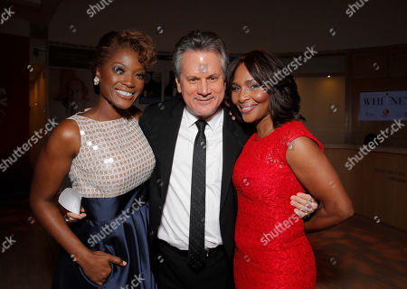 Stock Picture of Yolonda Ross, Executive Producer Larry Sanitsky and Suzzanne Douglas attend the Premiere of Lifetime's Whitney at the Paley Center on in Beverly Hills, Calif