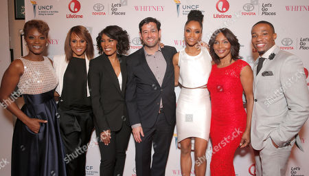 Yolonda Ross, Deborah Cox, Director Angela Bassett, Lifetime EVP and GM Rob Sharenow, Yaya DaCosta, Suzzanne Douglas and Arlen Escarpeta attend the Premiere of Lifetime's Whitney at the Paley Center on in Beverly Hills, Calif