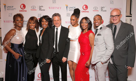 Yolonda Ross, Deborah Cox, Director Angela Bassett, Executive Producer Larry Sanitsky, Yaya DaCosta, Suzzanne Douglas, Arlen Escarpeta and writer Shem Bitterman attend the Premiere of Lifetime's Whitney at the Paley Center on in Beverly Hills, Calif