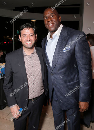Lifetime EVP and GM Rob Sharenow and Magic Johnson attend the Premiere of Lifetime's Whitney at the Paley Center on in Beverly Hills, Calif
