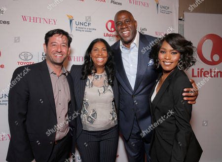 Lifetime EVP and GM Rob Sharenow, Cookie Johnson, Magic Johnson and Director Angela Bassett attend the Premiere of Lifetime's Whitney at the Paley Center on in Beverly Hills, Calif