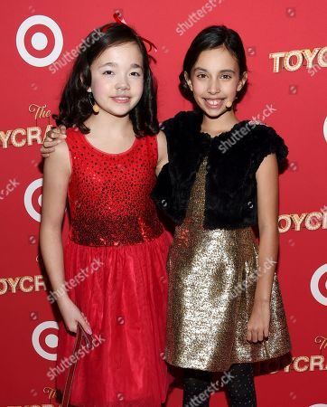 """Stock Picture of Actors Isabella Russo, left, and Kylie Cantrall attend the Target """"Toycracker"""" world premiere at Spring Studios, in New York"""