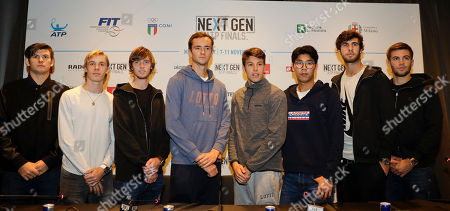 From left, U.S. Jared Donaldson, Denis Shapovalov of Canada, Andrey Rublev of Russia, Daniil Medvedev of Russia, Gianluigi Quinzi of Italy, Hyeon Chung of Korea, Karen Khachanov of Russia and Borna Coric of Croatia, pose prior to a press conference to present the ATP Next Gen Finals tennis tournament, featuring the eight qualifiers, in Milan, Italy