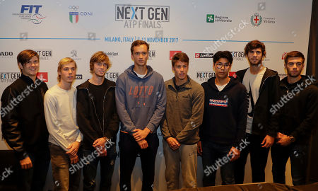 From left, U.S. Jared Donaldson, Denis Shapovalov of Canada, Andrey Rublev of Russia, Daniil Medvedev of Russia, Gianluigi Quinzi of Italy, Hyeon Chung of Korea, Karen Khachanov of Russia and Borna Coric of Croatia, pose after the press conference to present the ATP Next Gen Finals tennis tournament, featuring the eight qualifiers, in Milan, Italy