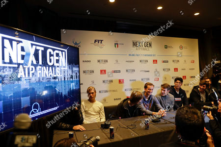 From left, Denis Shapovalov of Canada, Andrey Rublev of Russia, Daniil Medvedev of Russia, Gianluigi Quinzi of Italy, Hyeon Chung of Korea, Karen Khachanov of Russia and Borna Coric of Croatia, attend a press conference to present the ATP Next Gen Finals tennis tournament, in Milan, Italy