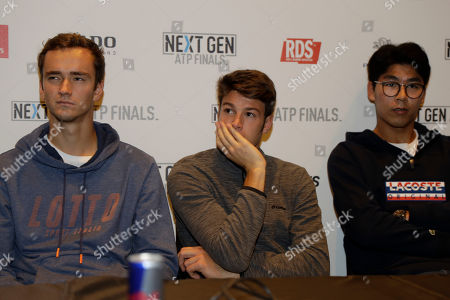 Stock Photo of From left, U.S. Daniil Medvedev of Russia, Gianluigi Quinzi of Italy and Hyeon Chung of Korea, attend press conference to present the ATP Next Gen Finals tennis tournament, in Milan, Italy