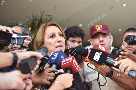 Rosario Mayor, Monica Fein, speaks to the media after the arrival of the bodies of five Argentinian nationals who were killed in the recent terrorist attack in New York City, in Rosario, Argentina, 06 November 2017. The bodies of Ariel Erlij, Diego Mendoza, Diego Enrique Angelini, Alejandro Damian Pagnucco and Hernan Ferruchi, killed in a truck attack in New York City last week arrived at their hometown of Rosario.