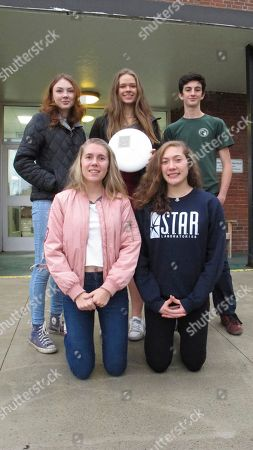 "Stock Photo of Ultimate Frisbee players, from left, rear, Sophia Currier, Emma Harter, Gavin Corbett-Valade. Front left bottom, Appolonia Tabacco and Casarah Acosta pose in front of their school, in Montpelier, Vt. Vermont is now the first state in the United States to recognize ""ultimate"" ? the game that started as Ultimate Frisbee ? as a high school varsity sport"