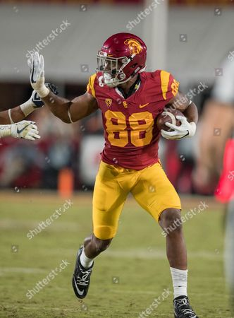 Los Angeles, CA...USC tight end (88) Daniel Imatorbhebhe makes a catch and looks for some running room during a game between the Arizona Wildcats vs USC Trojans on at the Los Angeles Memorial Coliseum in Los Angeles, California. USC defeated Arizona 49-35. (Mandatory Credit: Juan Lainez / MarinMedia.org / Cal Sport Media) (Complete photographer, and credit required)