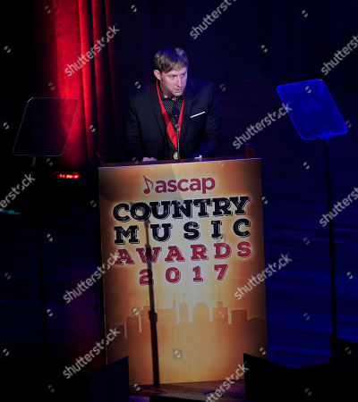 Ashley Gorley speaks after winning the ASCAP Songwriter of the Year award for the 5th time during the 55th Annual ASCAP Country Music Awards at the Ryman Auditorium, in Nashville, Tenn