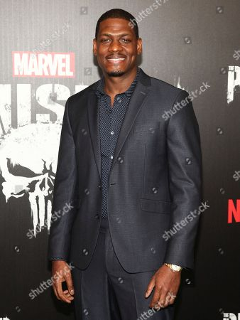 """Jason R. Moore attends the premiere of Netflix's """"Marvel's The Punisher"""" at AMC Loews 34th Street, in New York"""