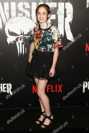 """Stock Image of Ripley Sobo attends the premiere of Netflix's """"Marvel's The Punisher"""" at AMC Loews 34th Street, in New York"""