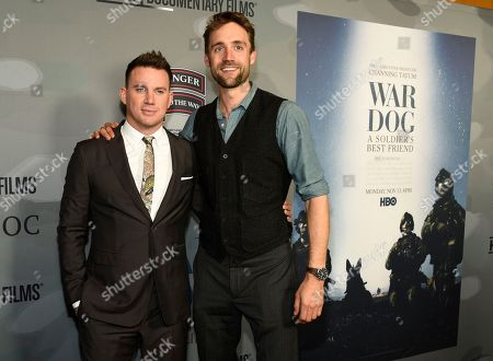 """Channing Tatum, Reid Carolin. Channing Tatum, left, and Reid Carolin, executive producers of the HBO documentary film """"War Dog: A Soldier's Best Friend,"""" pose together at the premiere of the film at the Directors Guild of America, in Los Angeles"""