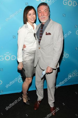"Paige Davis, left, and Patrick Page, right, attend the Broadway opening of ""An Act Of God"" at Studio 54, in New York"