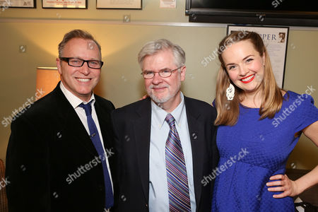 "Stock Image of From left, writer John Augustine, playwright Christopher Durang and cast member Liesel Allen Yeager pose backstage after the opening night performance of ""Vanya and Sonia and Masha and Spike"" at the Center Theatre Group/Mark Taper Forum, in Los Angeles, Calif"