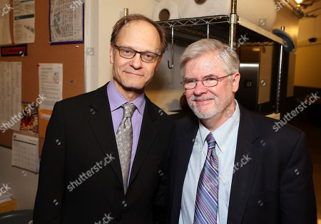 """From left, director David Hyde Pierce and playwright Christopher Durang pose backstage after the opening night performance of """"Vanya and Sonia and Masha and Spike"""" at the Center Theatre Group/Mark Taper Forum, in Los Angeles, Calif"""